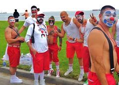 Long Beach Pride 052 (danimaniacs) Tags: shirtless hot sexy tattoo ink nipple muscular bare clown chest makeup hunk tats pec longbeachpride