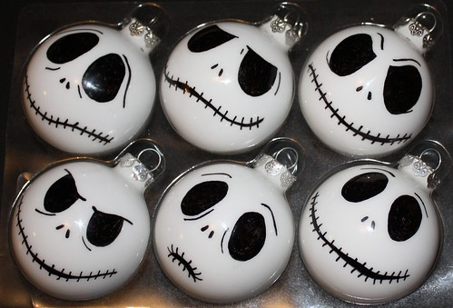 set 6 jack skellington ornaments