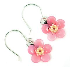 Sakura Earrings (beadorigami) Tags: pink flower geometric glass beads pattern handmade jewelry jewellery bead sakura handcrafted earrings beaded tutorial beadwork beadweaving seedbead beadedbead