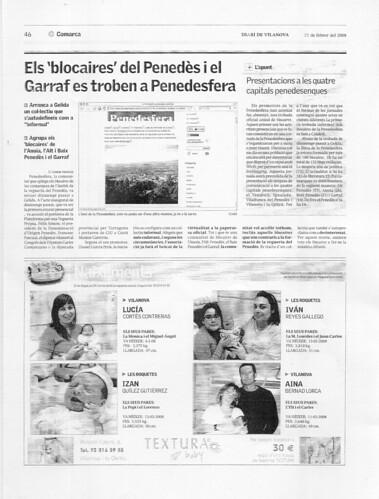 Diari de Vilanova 22-2-08: Els blocaires del Penedès i el Garraf es troben a Penedesfera