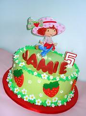 Strawberry Shortcake cake (pink_apron) Tags: cake strawberryshortcake kidsbirthday tvmoviethemecake