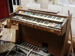organ in kitchens (Alir147) Tags: hospital scotland hall stage wheelchair memories paintings medical photographs forgotten nhs historical nurse exploration asylum derelict wards mentalhospital lunaticasylum abandonedhospital abandonedmentalhospital derelicthospital corrdior patientartwork