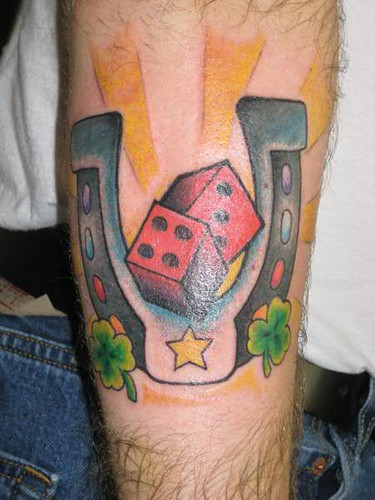 Dice and Horse Shoe tattoo by Jon Poulson by Las Vegas Tattoos by Jon