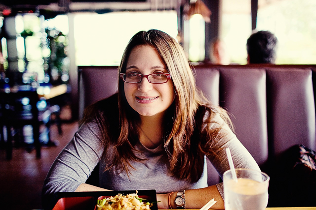 My dad took this photo of me at lunch.