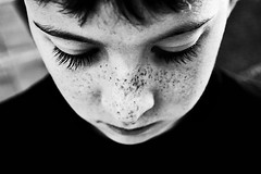 (L caitlin) Tags: boy portrait bw face contrast eyes eyelashes freckles
