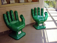 Green Hand Chairs ~ Recycled plastic PET  bottles (Urban Woodswalker) Tags: sculpture pet green art illinois chair hand bottles recycled plastic recycling urbanwoodswalker swancc