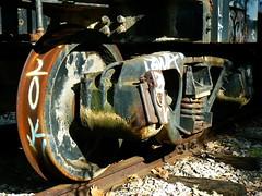 Rusted Wheel (tim.perdue) Tags: railroad abandoned car wheel train graffiti decay rusted
