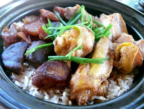 Chicken claypot rice. This is a healthy (but not any less delicious ...