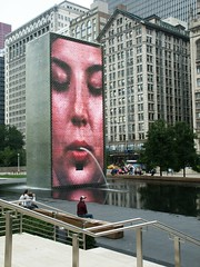 Just spittin' public art (bOw_phOto) Tags: city urban sculpture chicago art water fountain architecture pond millenniumpark minolota waterfountain dimage7i