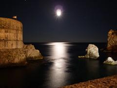 Moonlight in Dubrovnik - Croatia Hrvatska (cristianx) Tags: sea moon night wonderful spectacular seaside nightshot great exposition romantic dubrovnik