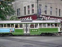 Memphis Main Street Trolley car # 454 at Madison Avenue and Main Street in downtown Memphis Tennesee. September 2007.