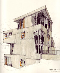 Freie Waldorfschule Uhlandshhe (Flaf) Tags: colour water architecture pencil stuttgart drawing contemporary waldorf architektur rudolf holz schule fassade neubau steiner stuttgartost aldinger