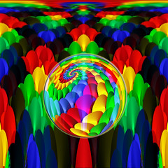 "Spirals Abstract or ""Huddled Together"" (Song_sing) Tags: blue red green yellow fractals pspro9 ps9 mbf chall abstractal kaleifractal kaleidospheres"