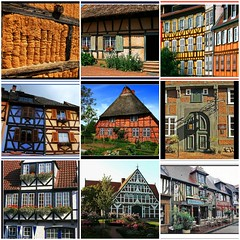 My creation  - half-timbered house in France and Germany / Fachwerkhuser in Frankreich und Deutschland (unicorn 81) Tags: old roof house france color building collage architecture fdsflickrtoys frankreich colorful europa europe village mosaic cottage eu thatch thatchedroof photocollage germania halftimbered thatched lafrance fachwerk timbered fachwerkhaus thatchedcottage halftimber reetdach timberedhouse thatchedhouse niemcy reetdachhaus fachwe