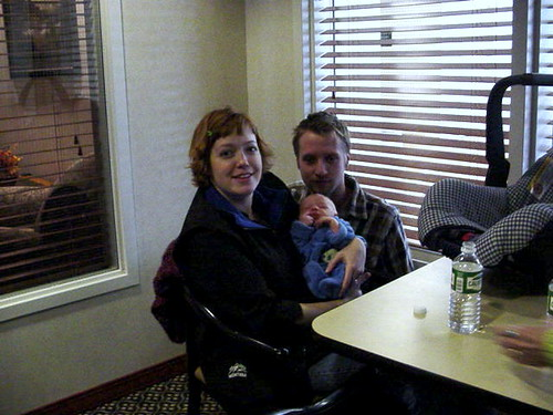 Nicole, Ryan and their newborn baby, Lucien.
