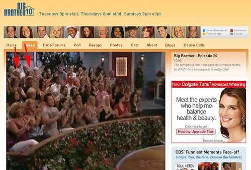Big Brother 10 Screen Capture Arrows