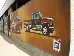 General Motors automobile mural