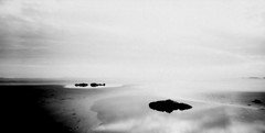 (Sak Pase Zanmi'm?) Tags: color reflection film bay highcontrast panoramic pinhole pacificocean overexposed lowtide yachats zero135 convertedtoblackandwhite zeroimage135