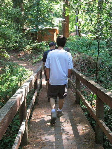 crossing a footbridge