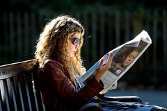 elegant reader (Dean Ayres) Tags: park woman london sunglasses bench newspaper unitedkingdom read nottinghillgate londonflickrmeetup westhollandpark upcoming:event=1056297