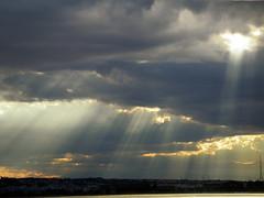 Descending from Heaven (Faddoush) Tags: blue light sky cloud storm yellow clouds golden nikon europe heaven ray gray hellas greece coolpix thessaloniki 4500 landscspe faddoush