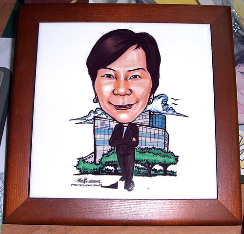 Caricature artwork printed on ceramic tile