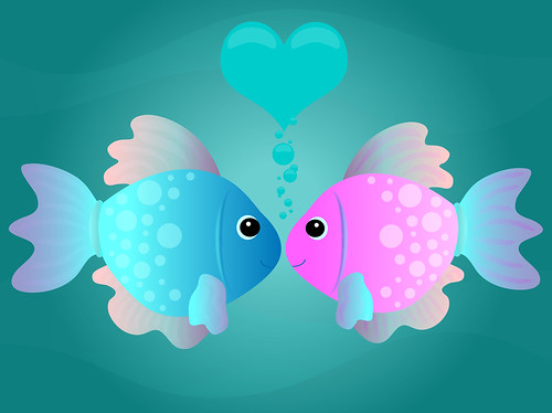cartoon fish. Two cartoon fish kissing in an