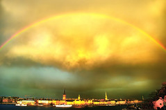 rainbow over Stockholm (Dan65) Tags: light sea sky wet water rain weather shower rainbow october sweden stockholm capital explore conference fjord 35 2008 information thunder patent epo artistictreasurechest