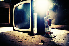 Smirnoff and Telly (Cormac Phelan) Tags: ireland house abandoned film kitchen television 35mm lomo lca xpro lomography glare lka decay cork velvia vodka smirnoff derelict phelan leitrim cormac