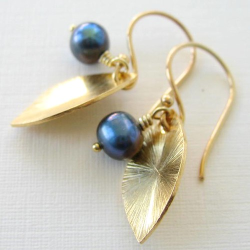 Something Blue in Gold - Vermeil (24K Gold-Plated) Leaf and Blue Freshwater Pearl Earrings