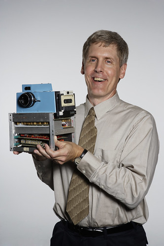 Kodak's Steve Sasson holding the worlds first digital camera
