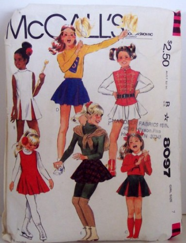 VIntage McCalls Pattern 8097 Costume Cheerleader Gymnaist Ice Skater Rollerskate Twirl Band Girls Size 7