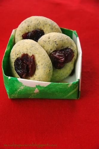 Biscotti al matcha, semi di papavero e mirtilli rossi
