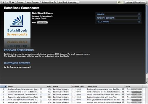 BatchBook Screencasts on iTunes