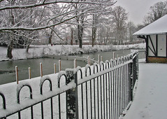 One man and his dog (canong2fan) Tags: lake snow fence boathouse cheltenham smrgsbord pittvillepark
