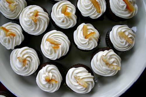 cupcakes with orange cream and candied orange peel