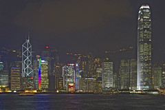 Hong Kong Skyscraper Light Show (Ray Devlin) Tags: world show china city light panorama hk building tower vertical skyline hub asian hongkong lights search asia downtown harbour district centre towers central chinese dramatic bank victoria hong kong peoples business busy lasers fragrant cantonese financial favs incense aig peoplesrepublicofchina aisa symphonyoflights downtownhongkong hongkongspecialadministrativeregion
