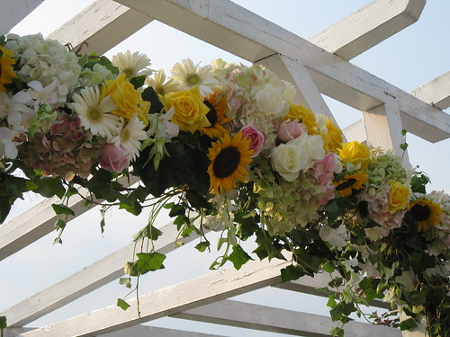 ceremony design, Pergola wedding ceremony site design w flowers