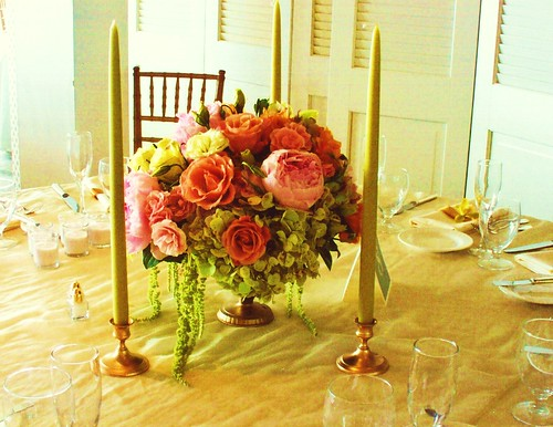spring centerpiece, Centerpiece in the color palette of soft apricot, pink and charteuse.