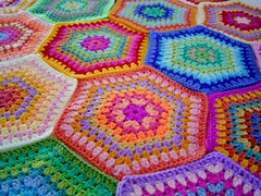 colourful hexagons (sarah london textiles) Tags: crochet hexagons colouful