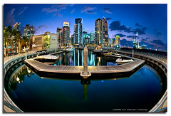 Curvaceous Marina ;-) (DanielKHC) Tags: longexposure blue night digital marina interestingness high nikon dubai cityscape dynamic uae fisheye explore hour range fp frontpage dri hdr blending d300 interestingness2 dynamicrangeincrease 6exp danielcheong nikkorfisheye105mmf28 bratanesque danielkhc explorefp explore18dec08 gettyimagesmeandafrica1
