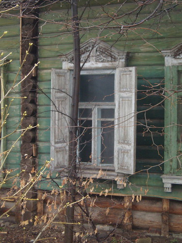 Russian wooden home window