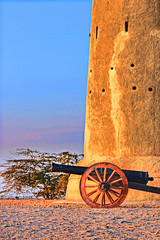 Standing Still at Al Zubara Fort (rbsuperb) Tags: tower heritage history gun mortar cannon overlooking chronicle doha qatar watchtower memoirs alzubarafort northofqatar abandonedcity rbsuperb richardsupera