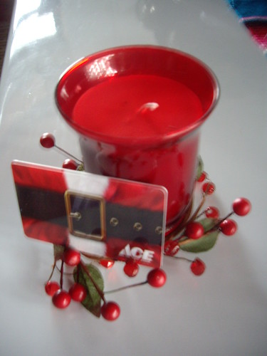 gift card and candle