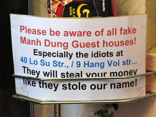 Funny sign at the real Manh Dung Guesthouse - Hanoi, Vietnam