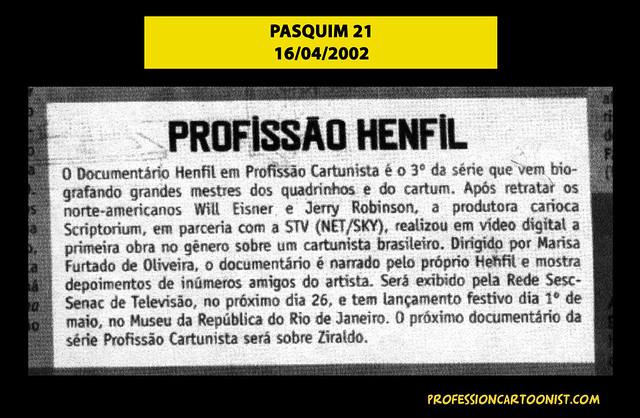 """Profissão Henfil"" - Pasquim 21 - 16/04/2002"