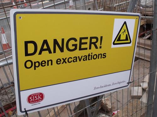 Longbridge road works - sign - Danger! Open excavations