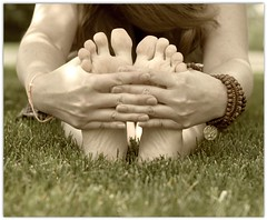 Folding (oneworldmj) Tags: feet me grass yoga relax hands natural earth calming stretch bracelet breathe connection sandalwood treeoflife flexible paschimottanasana myfeetlooksowrinklyherehahalookslikeisatinthebathtubtoolong