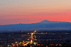 Pike's Peak Punctuates Pink Paradise (Fort Photo) Tags: street city pink blue sunset urban mountains landscape lights evening nikon colorado dusk denver commute commuter bluehour federal d300 passionphotography impressedbeauty federalboulevard theperfectphotographer