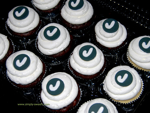Black and white monogram cupcakes 50th birthday